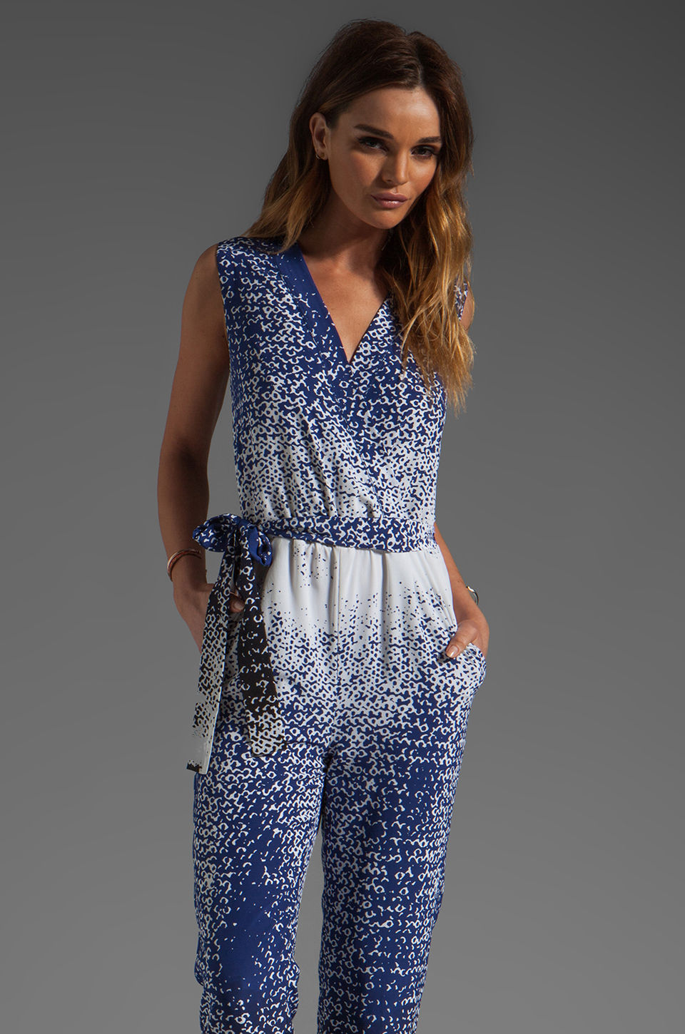 Diane von Furstenberg Kawena Jumpsuit in Shaded Curtain Navy