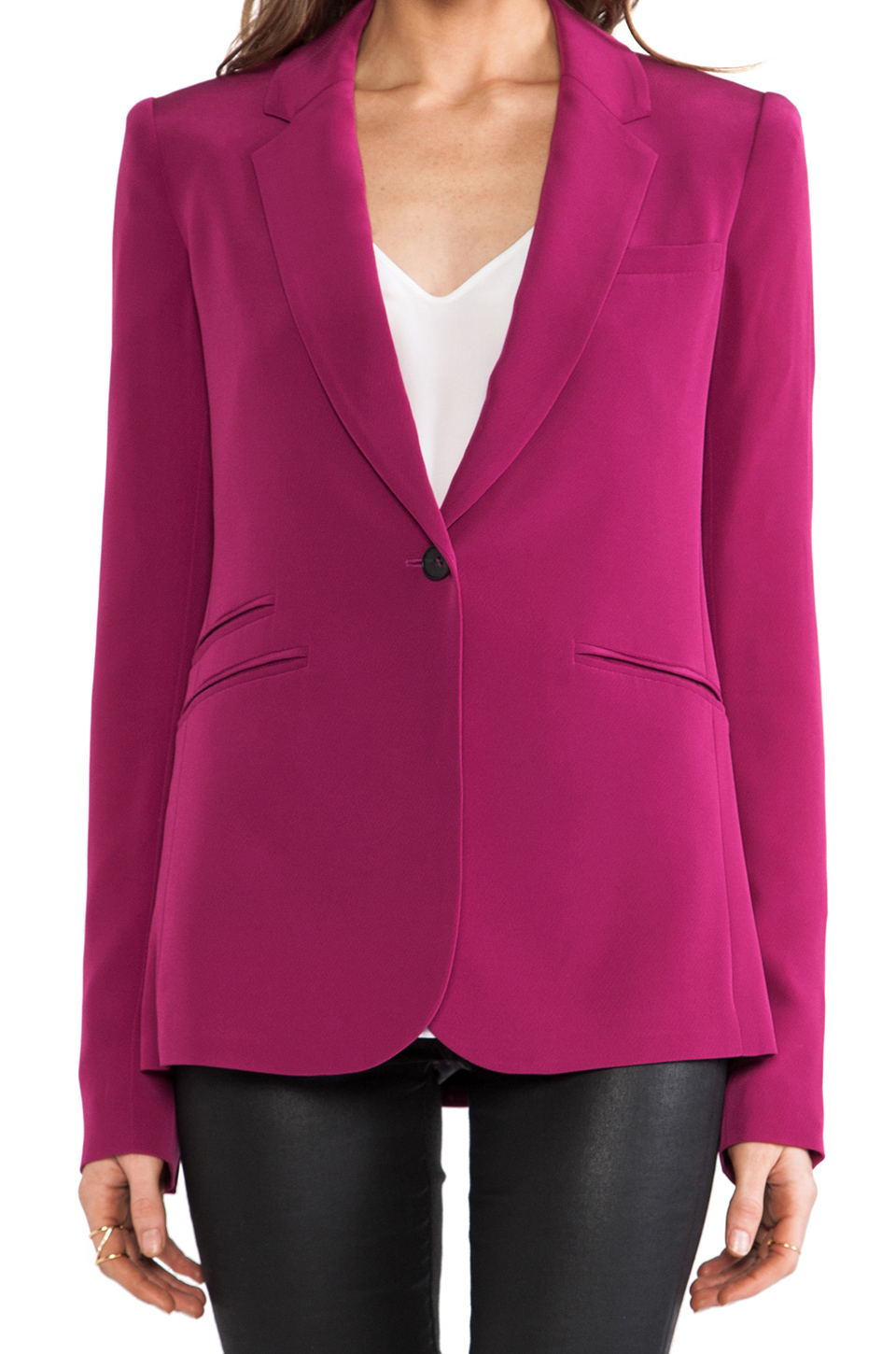 Elizabeth and James Rex Blazer with Colored Lining in Raspberry
