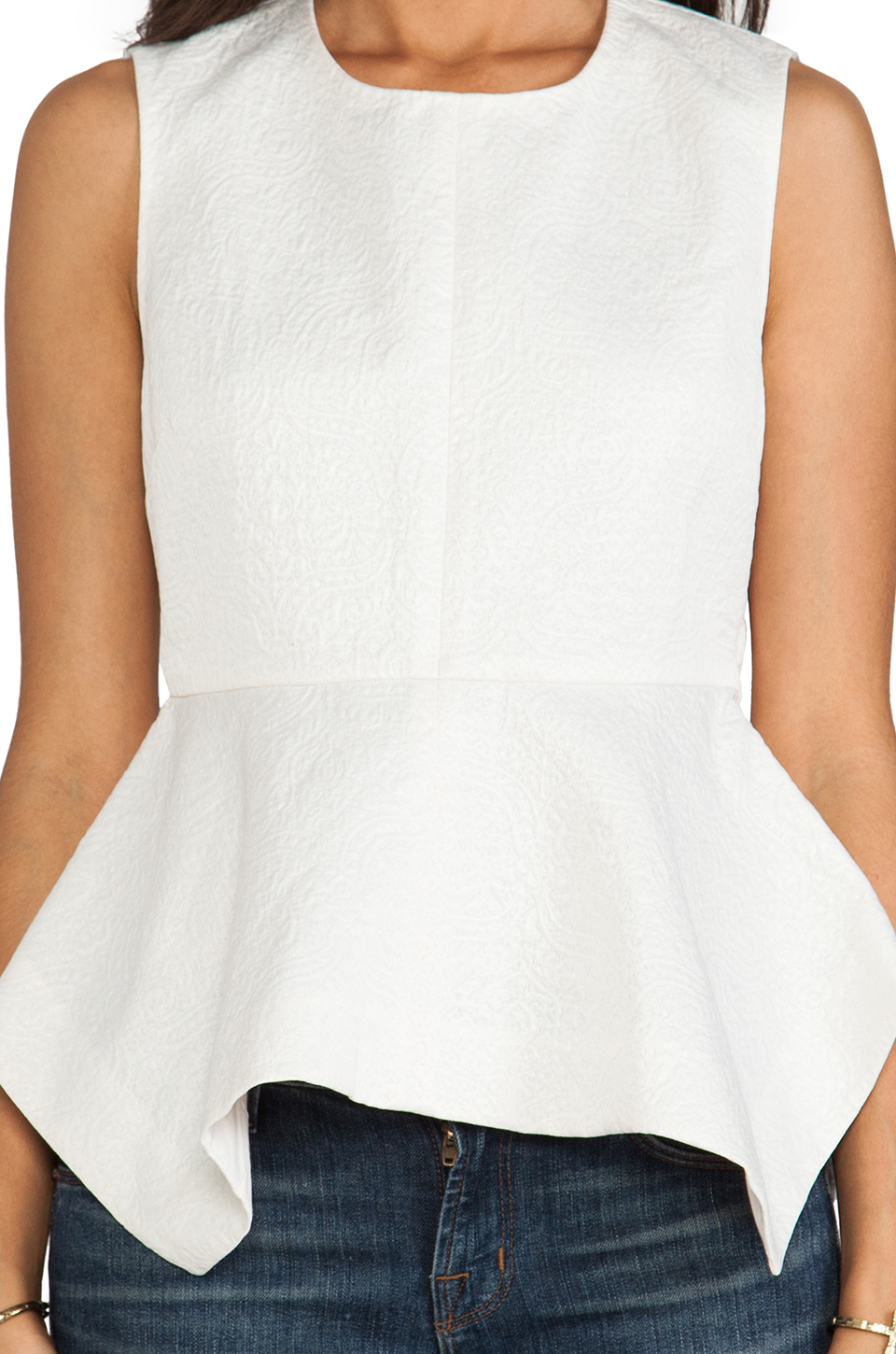 Elizabeth and James Yumi Peplum Top in Ivory
