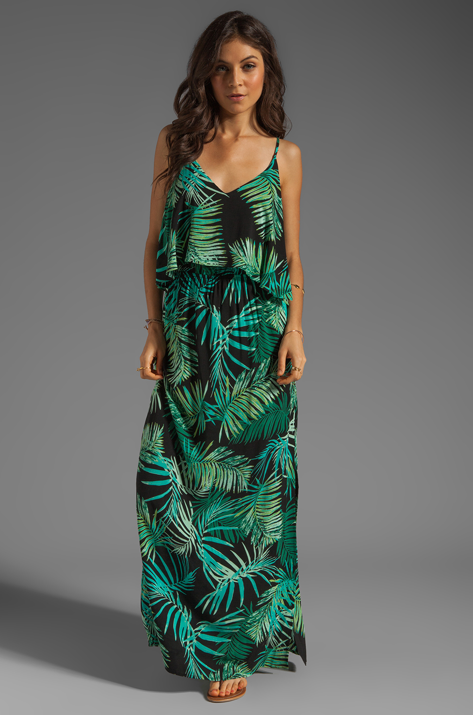 Eight Sixty Palm Maxi Dress in Blue/Green