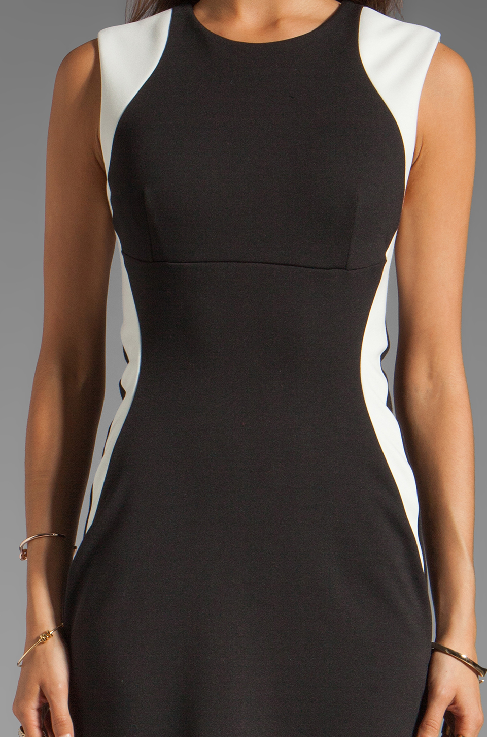 Eight Sixty Slim Illusion Dress in Vanilla/Black