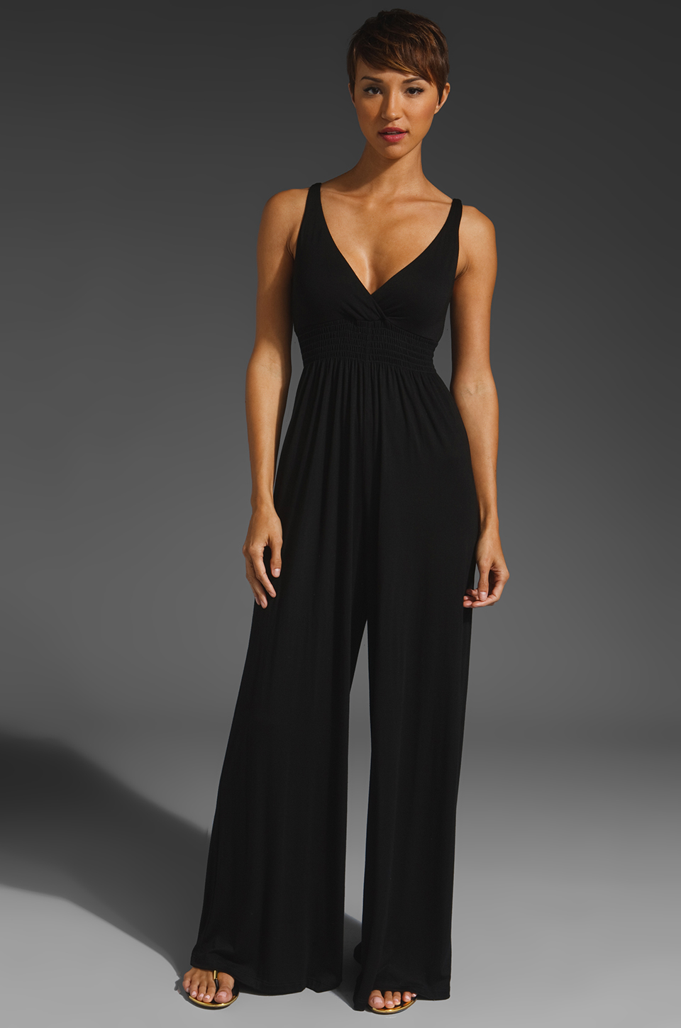 Eight Sixty Jersey Long Jumpsuit in Black