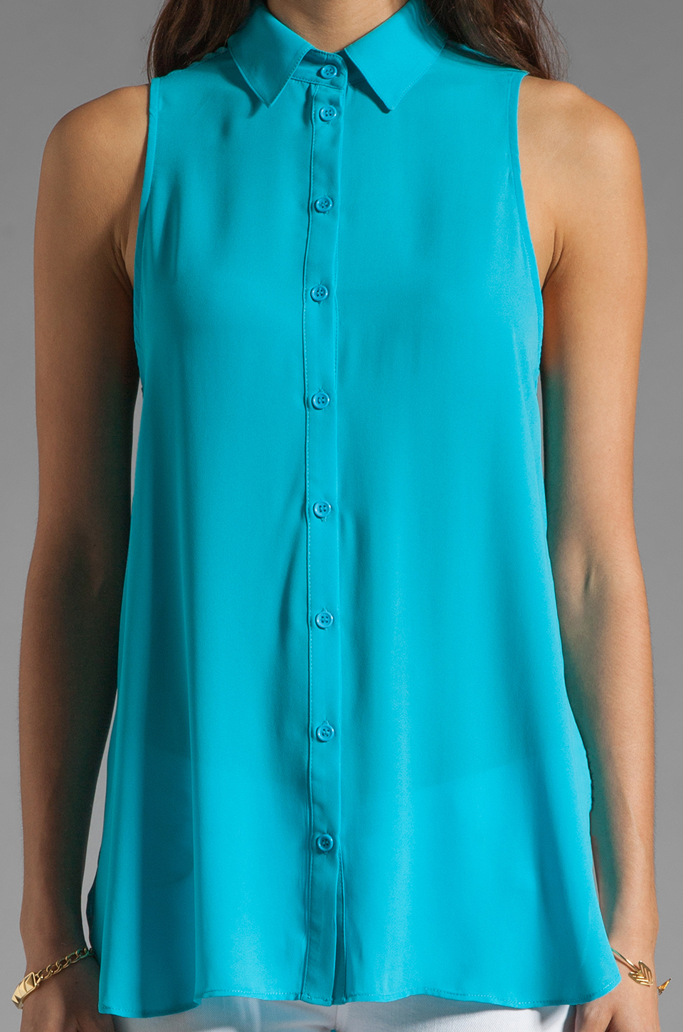 Eight Sixty Hi Lo Button Down Tank in Light Blue