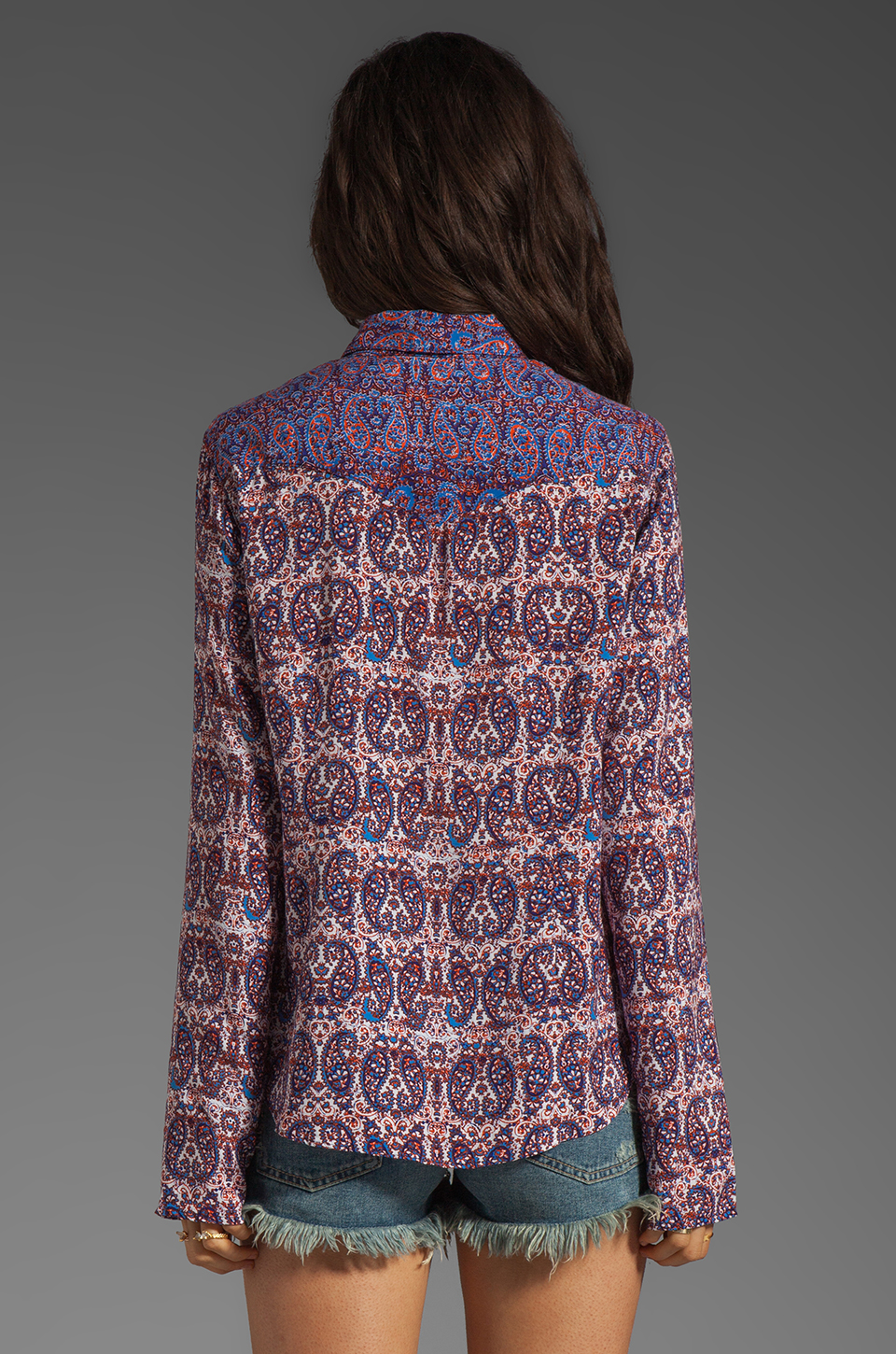 Ella Moss Kasbah Paisley Button Up in Royal