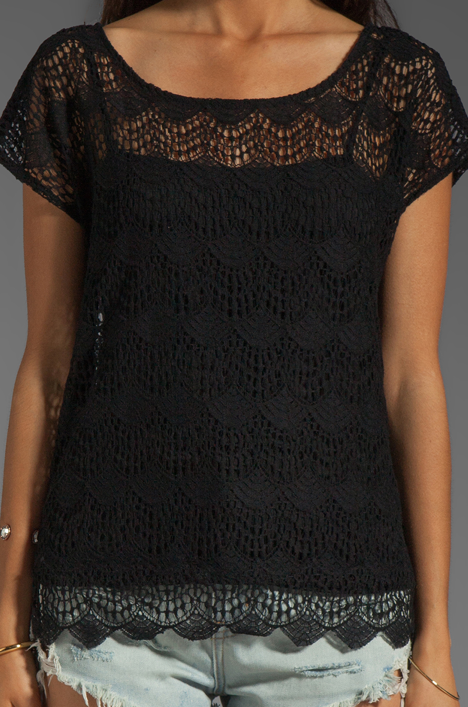 Ella Moss Jasmine Lace Top in Black