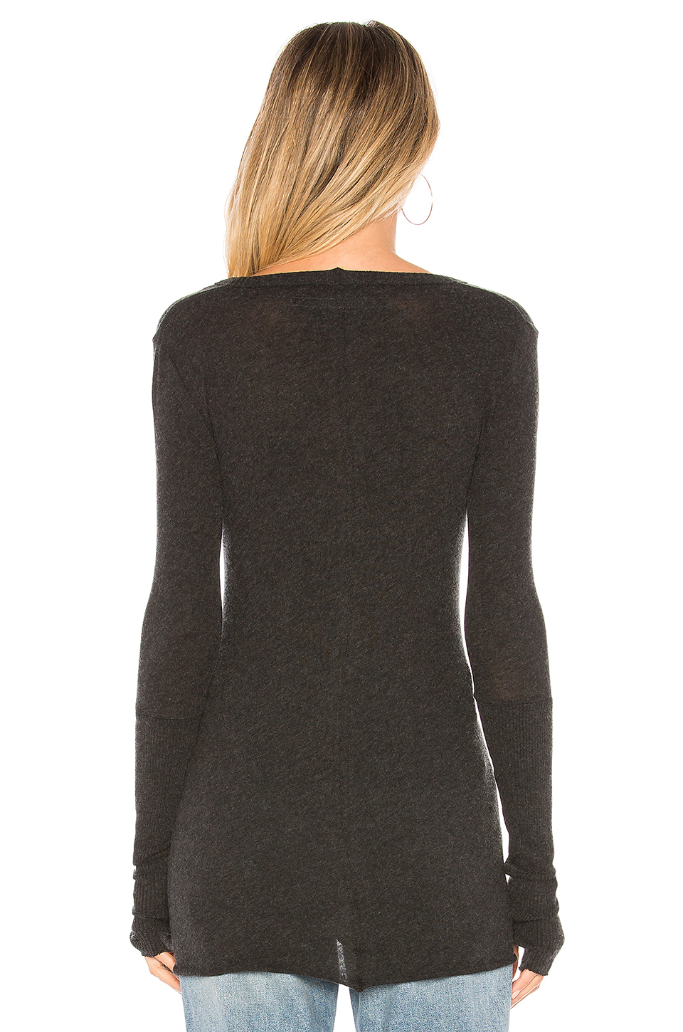 Enza Costa Cashmere Fitted Cuffed V Neck Sweater in Charcoal