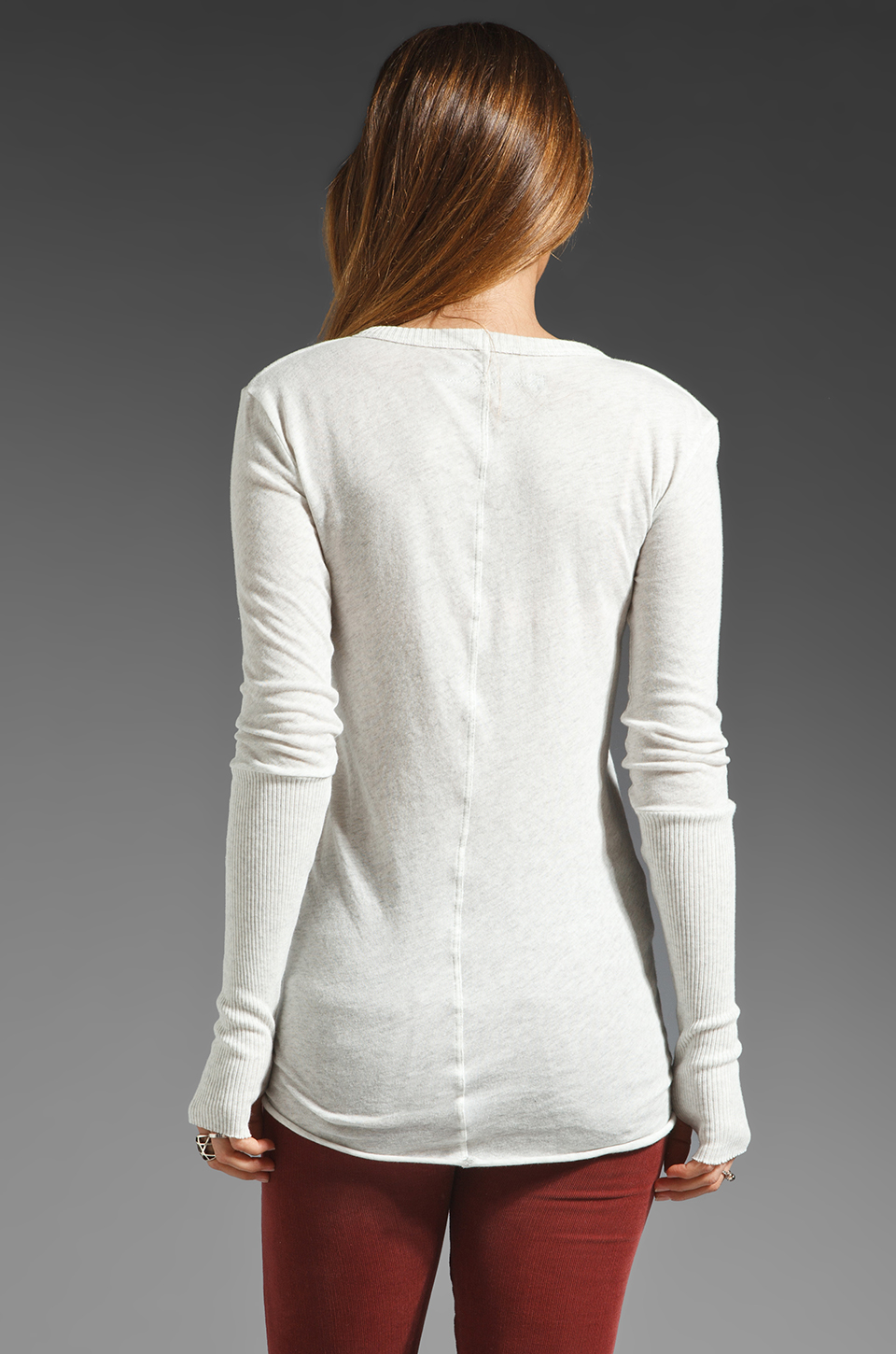 Enza Costa Cashmere Fitted Sweater in Ash