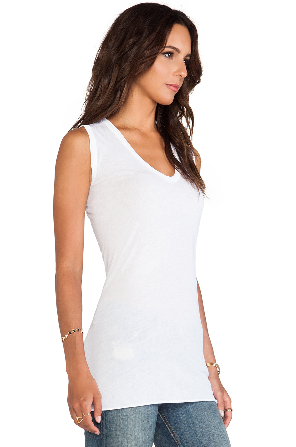 Enza Costa Tissue Jersey Bold Sleeveless Top in White