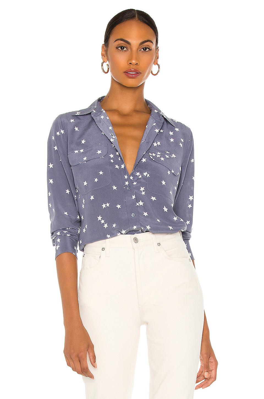 Equipment starry night slim signature blouse in blue for Equipment black silk shirt