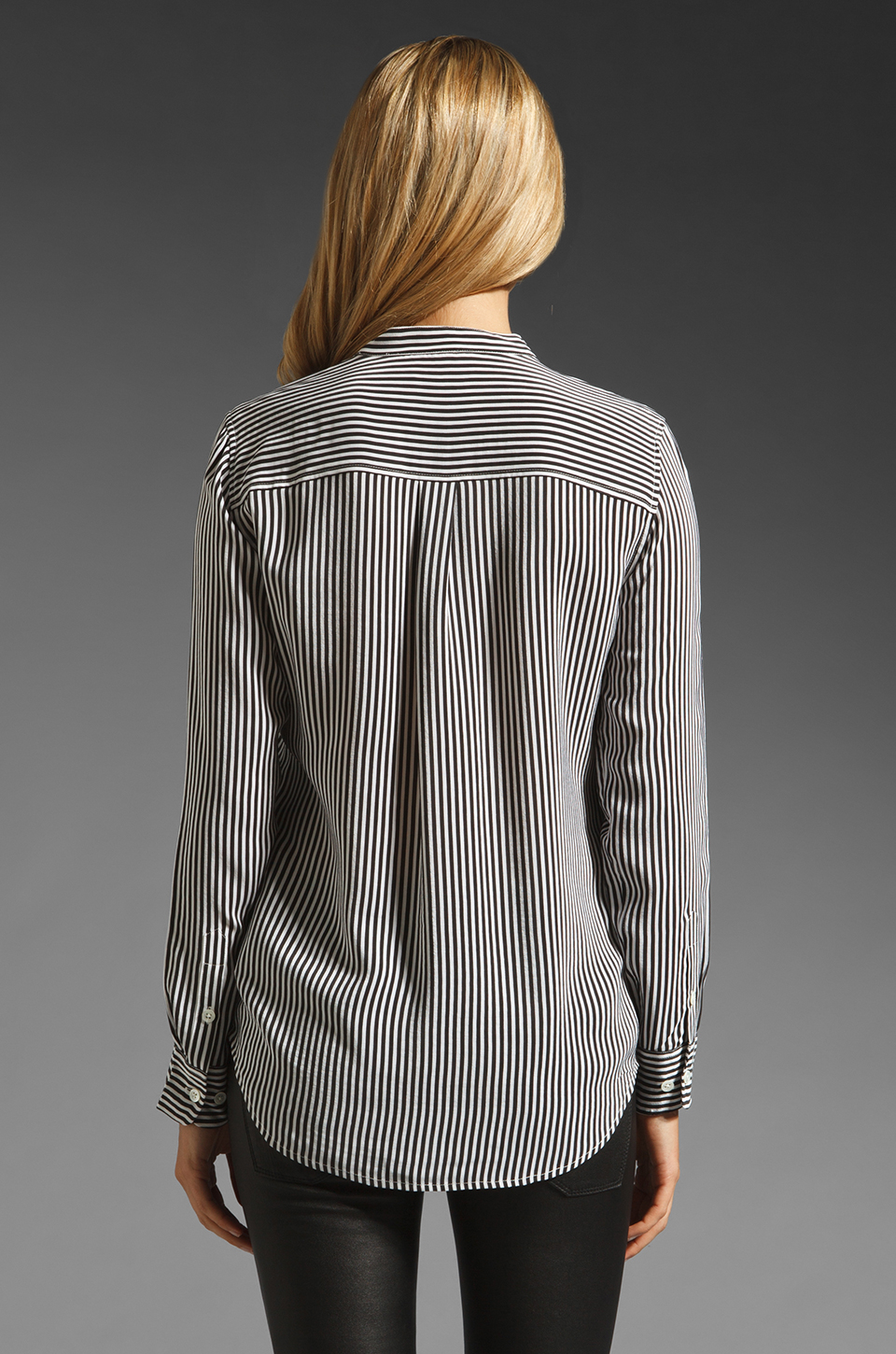 Equipment Collarless Slim Signature Daphne Stripe Blouse in Black/White
