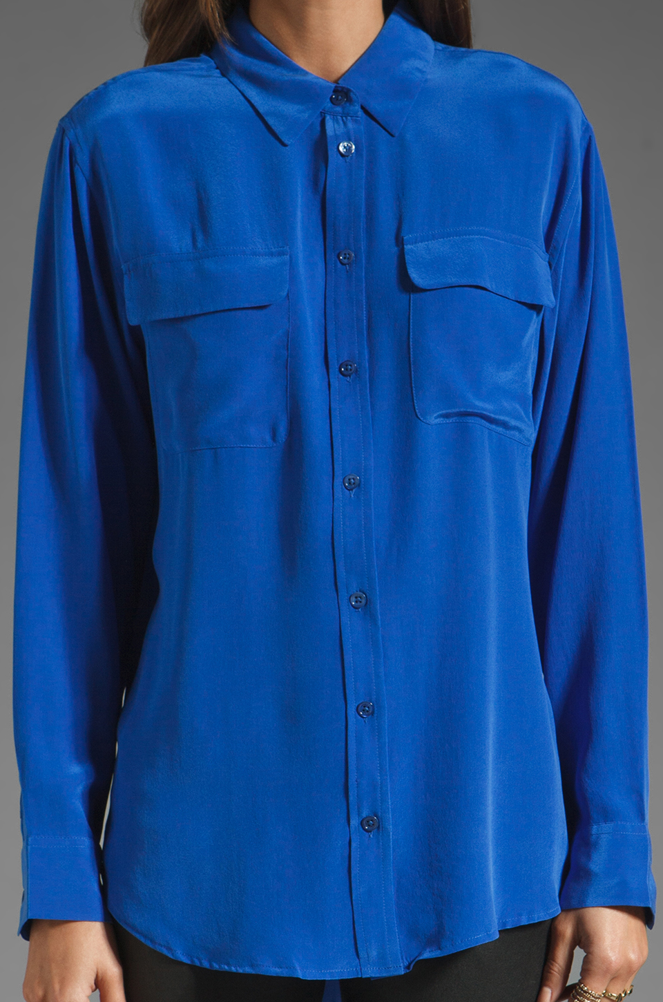 Equipment Signature Blouse in Regal Blue