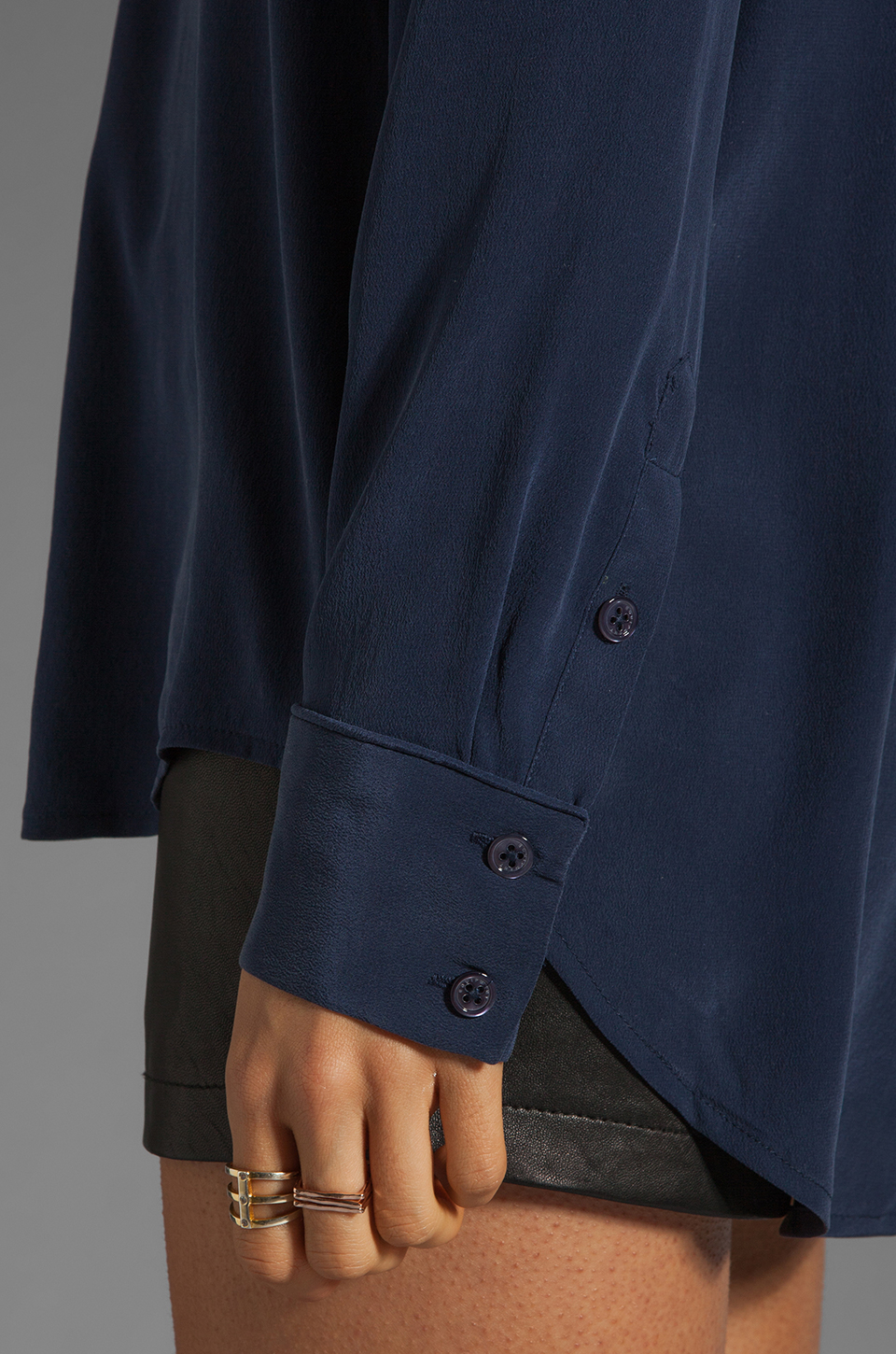 Equipment Keira with Contrast Lapel Blouse in Peacoat