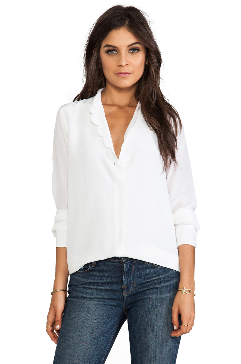 Equipment Brett Clean with Scallop Blouse in Bright White