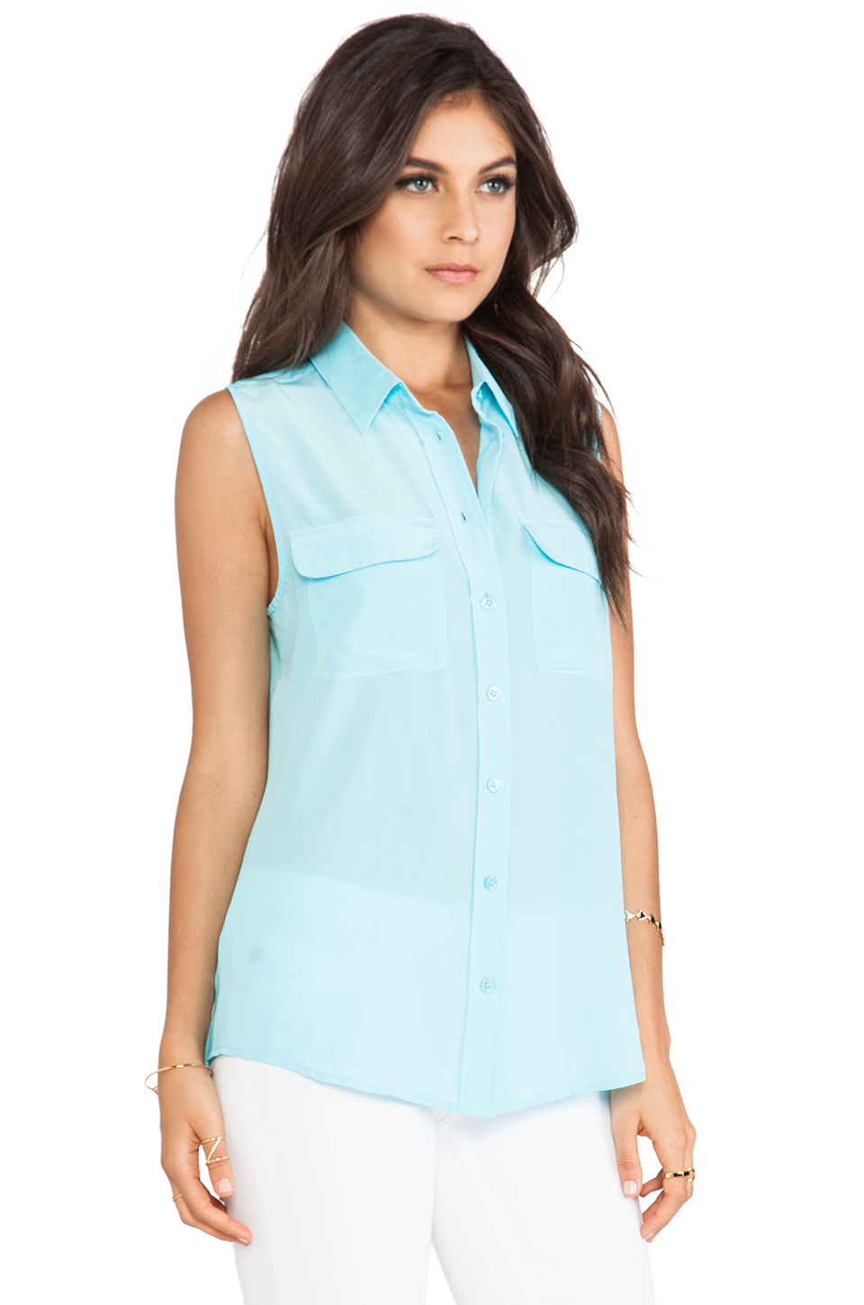 Equipment Sleeveless Slim Signature Blouse in Light Teal