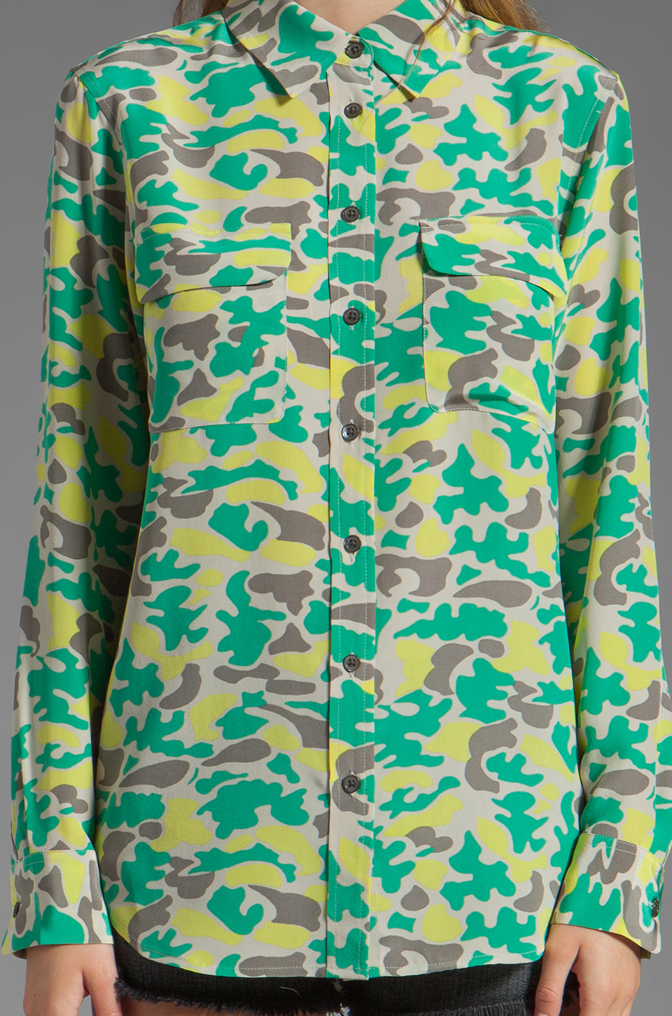 Equipment Retro Camo Slim Signature Blouse in Lime Punch
