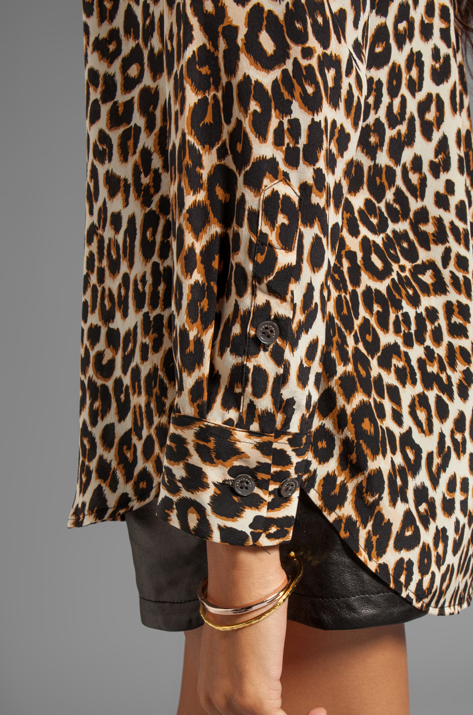 Equipment Underground Leopard Printed Slim Signature Blouse in Natural