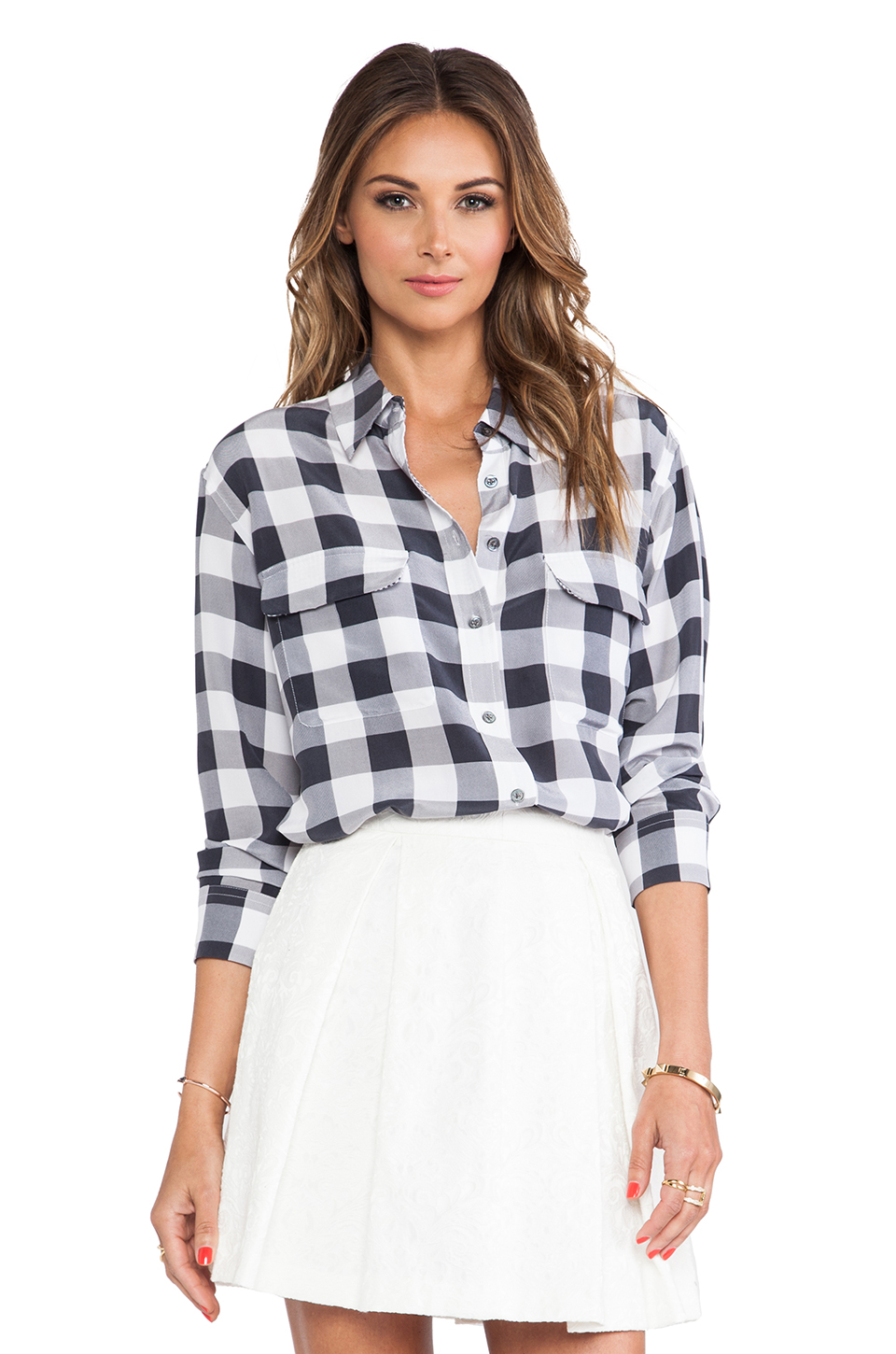 Equipment Signature Gingham Print Blouse in Gray