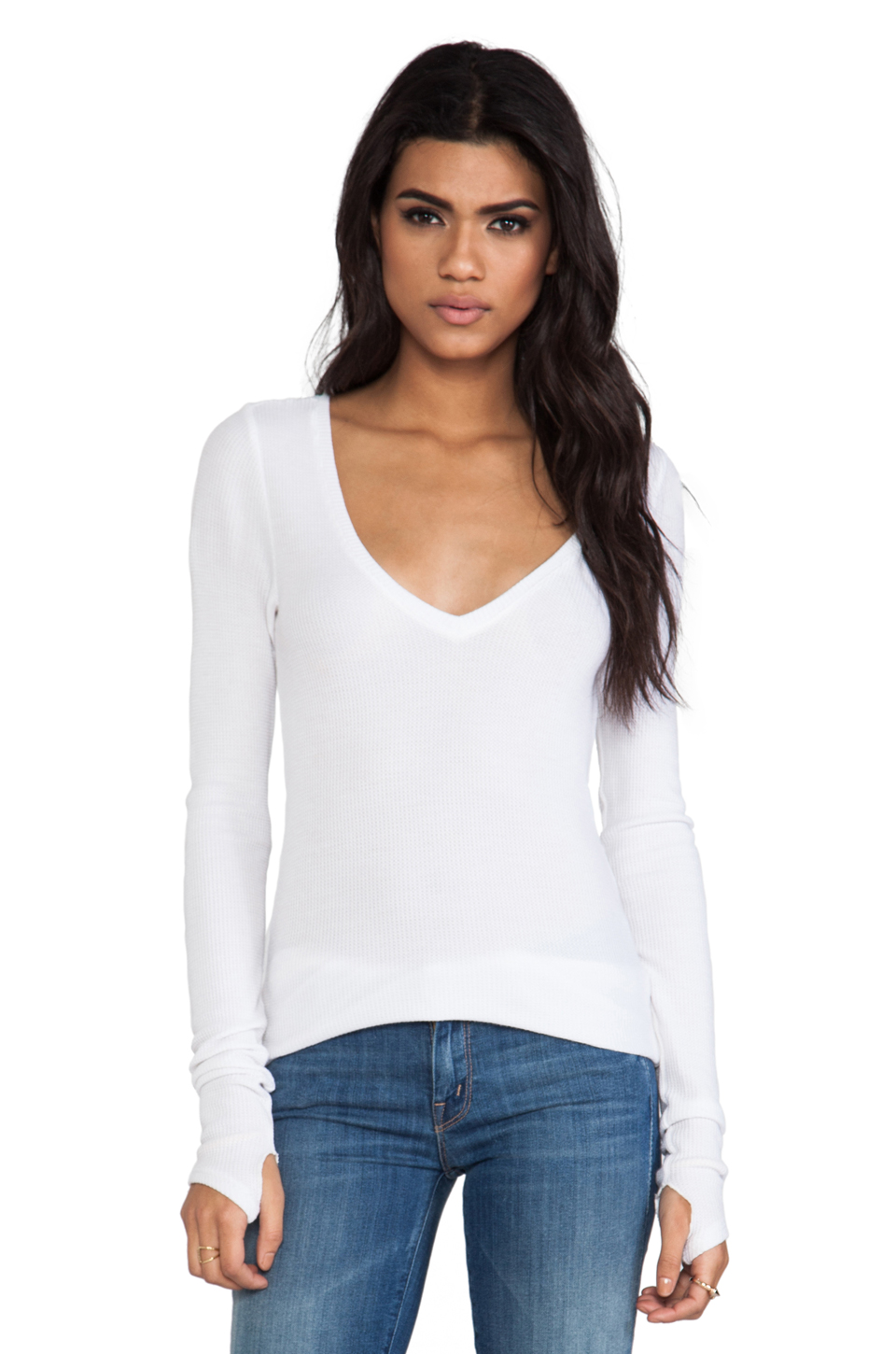 Feel the Piece Viper Thermal V Neck with Thumb Holes in White