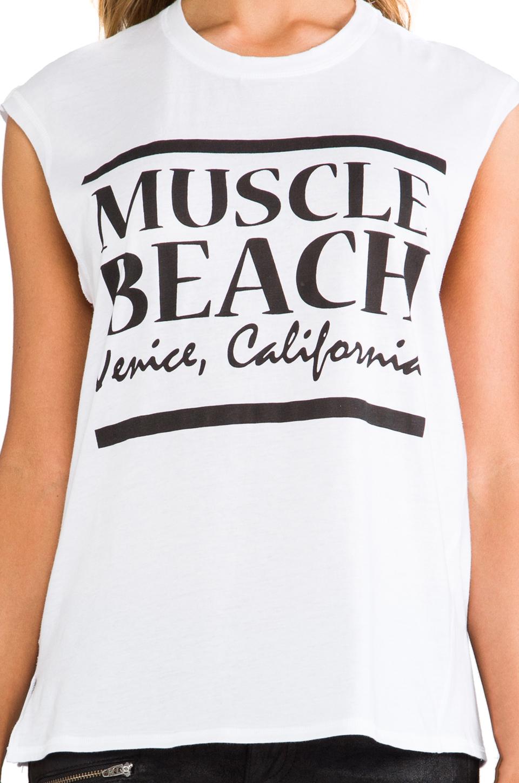 Friend of Mine Muscle Beach Tank in White/Black
