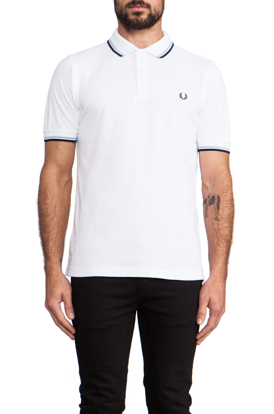 Fred Perry Twin Tipped Slim Fit Polo in White/Navy