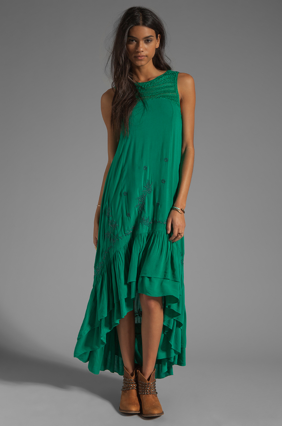 Free People Long Crochet Dress with Tiers in Emerald Combo