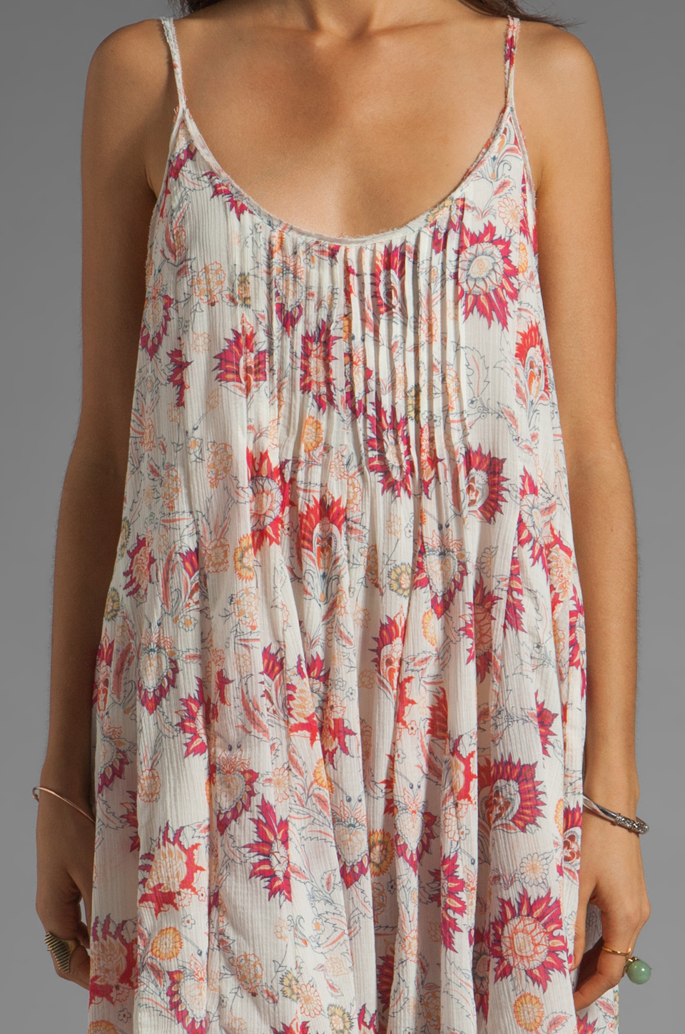 Free People Pintuck Gauze Dress in Ivory Combo