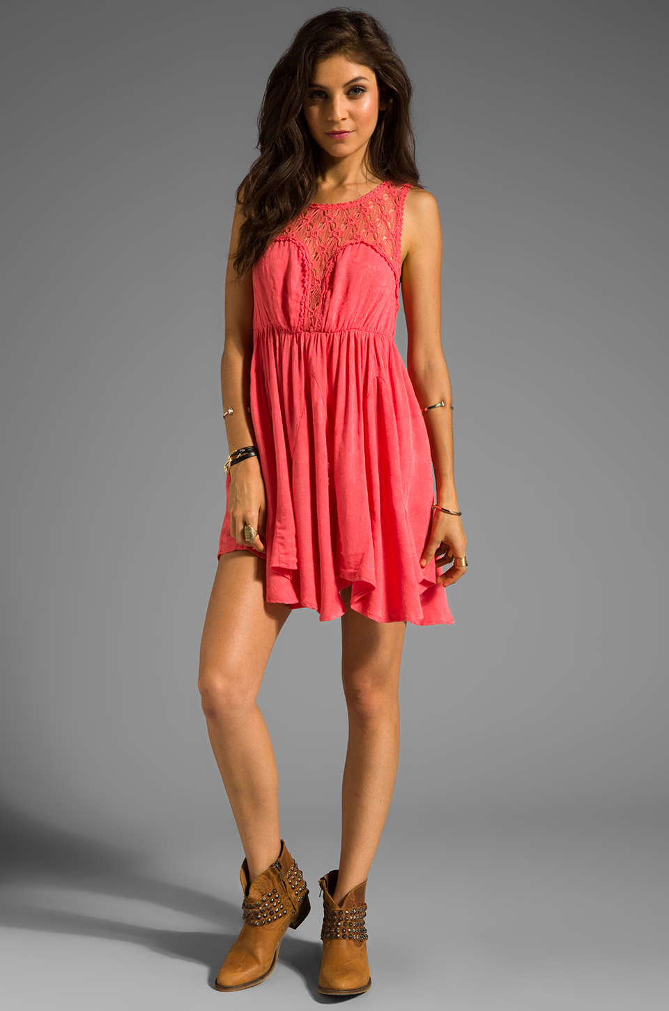 Free People Fiesta Dress in Coral