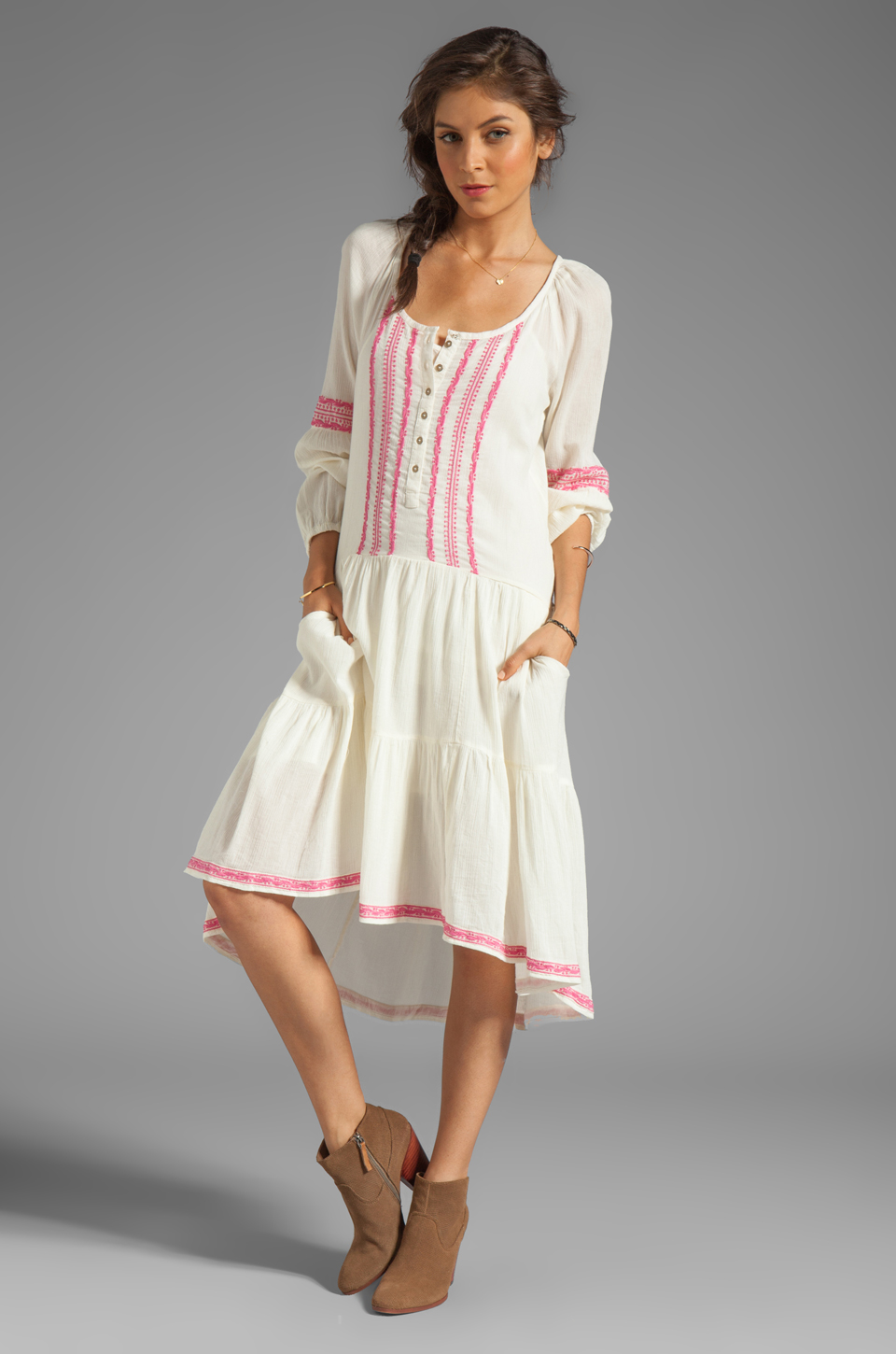 Free People Light Heart Dress in Tea Combo