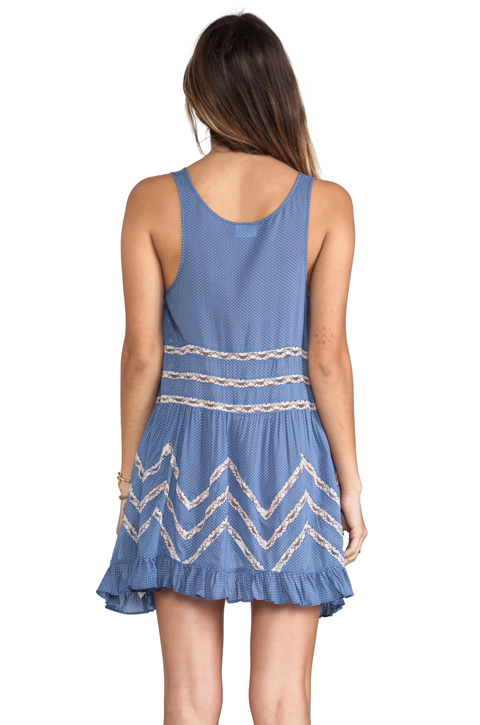 Free People Slip Voile Trapeze Dress in Blue Combo