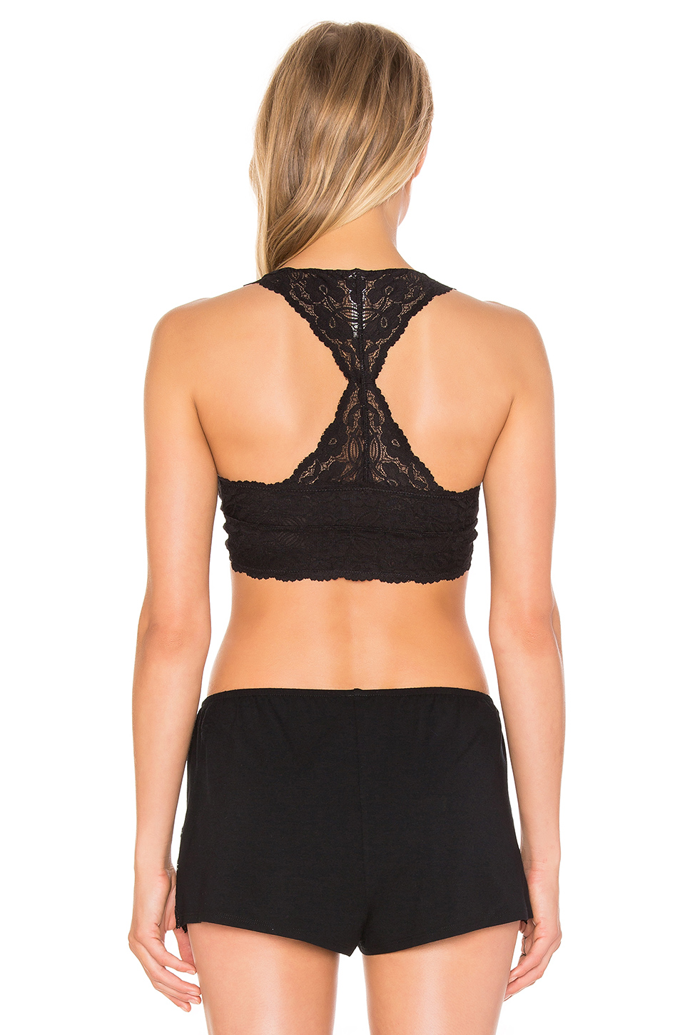 Free People Racerback Crop Bra in Black