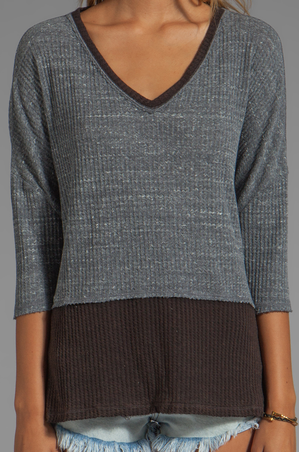 Free People Greatest Hit Sweater in Heather Grey Combo