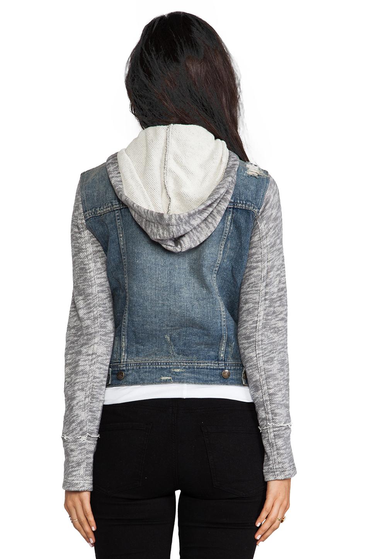 Free People Denim/Knit Hoodie Jacket in Indie Wash