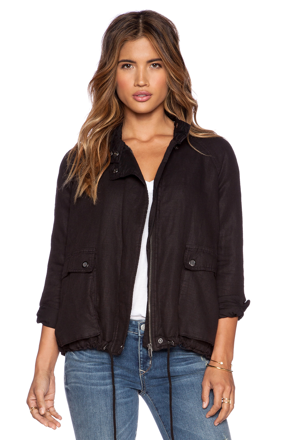 Free people swing sporty jacket in washed black revolve