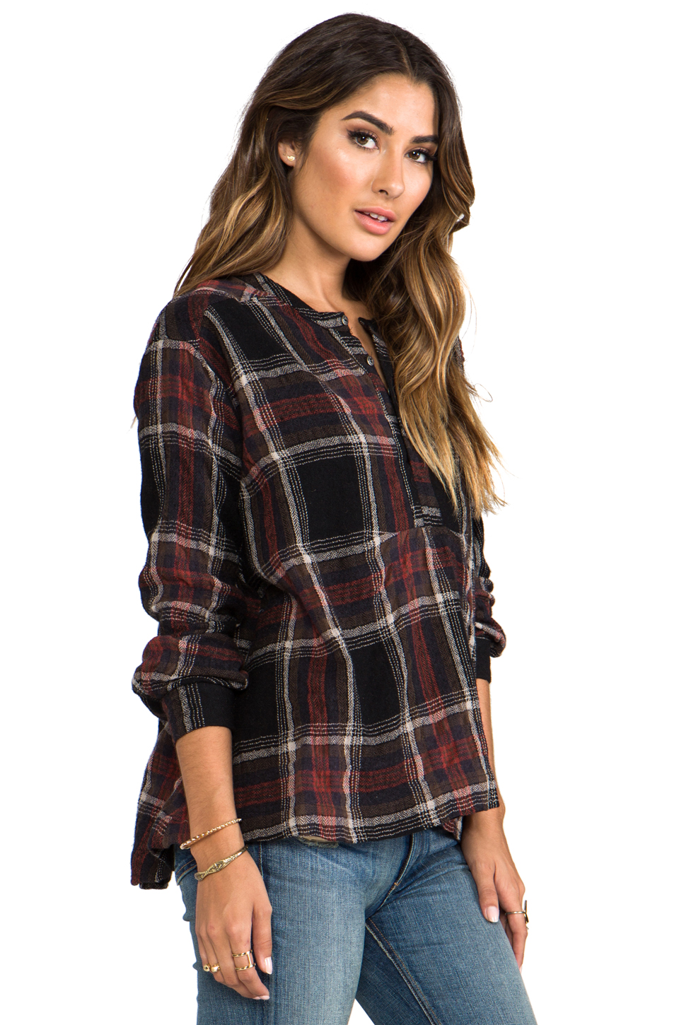 Free People Johnny Plaid Top in Black Combo