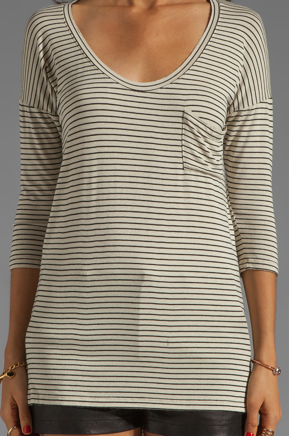 Free People Retro Stripe Tee in Natural