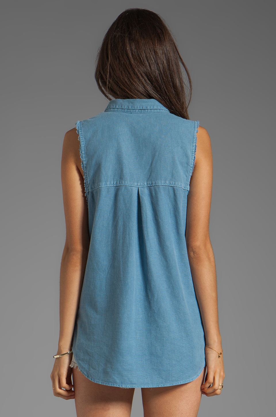 Free People Linen Sleeveless Shirt in Chambray Blue