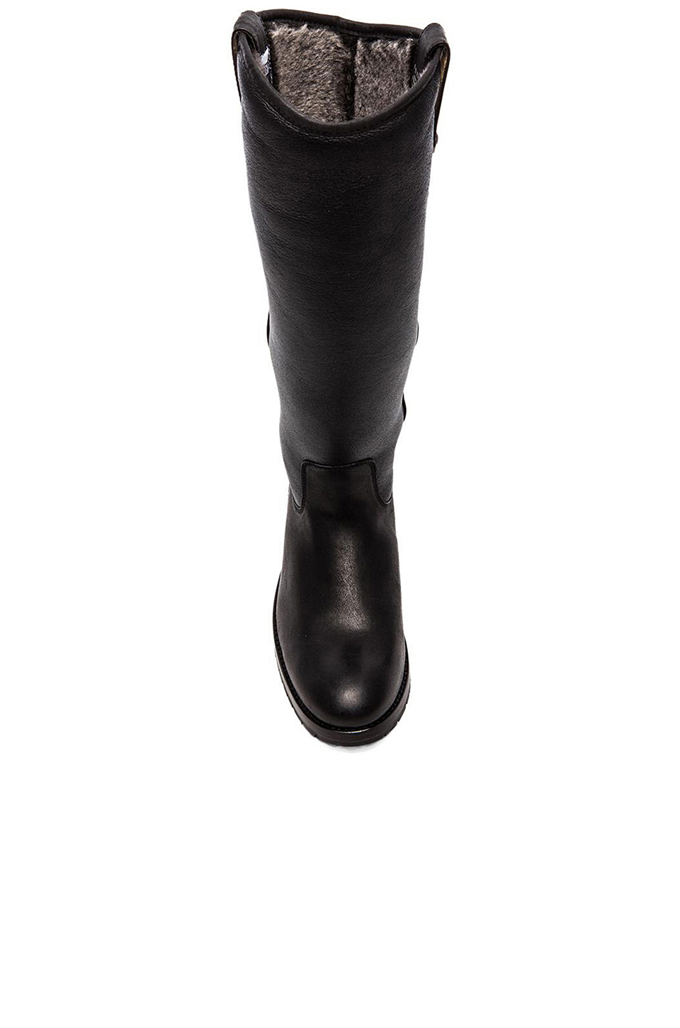 Frye Melissa Button Boot with Sheep Shearling in Black