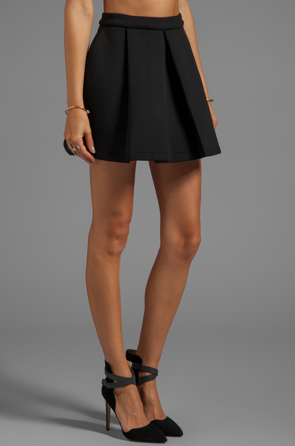 Funktional Ozone Pleat Skirt en Noir
