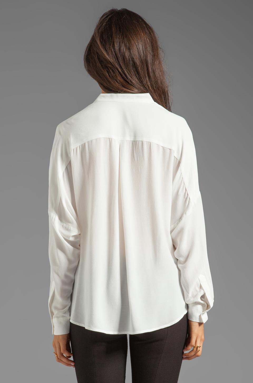 Funktional Linear Cold Shoulder Fold Front Blouse en Blanc