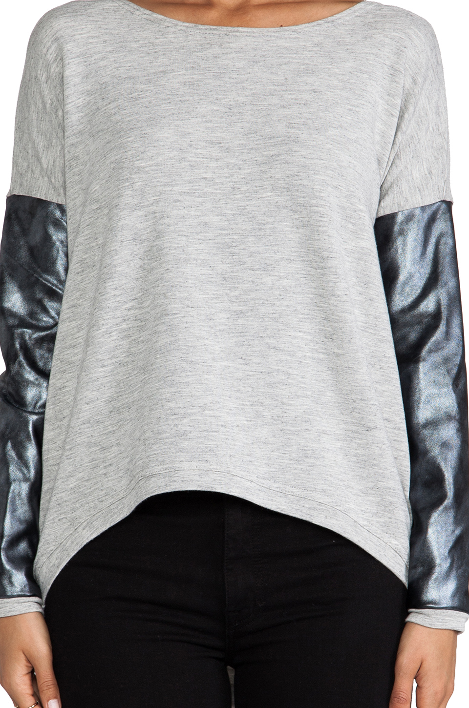 Generation Love Bobo Silver Leather Sweater in Grey