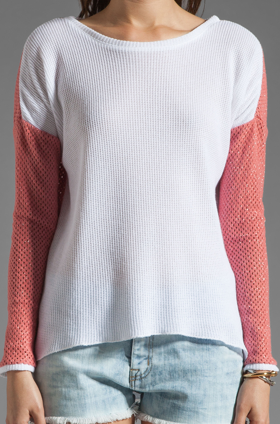 Generation Love Juliet Contrast Mesh Long Sleeve in Coral/White
