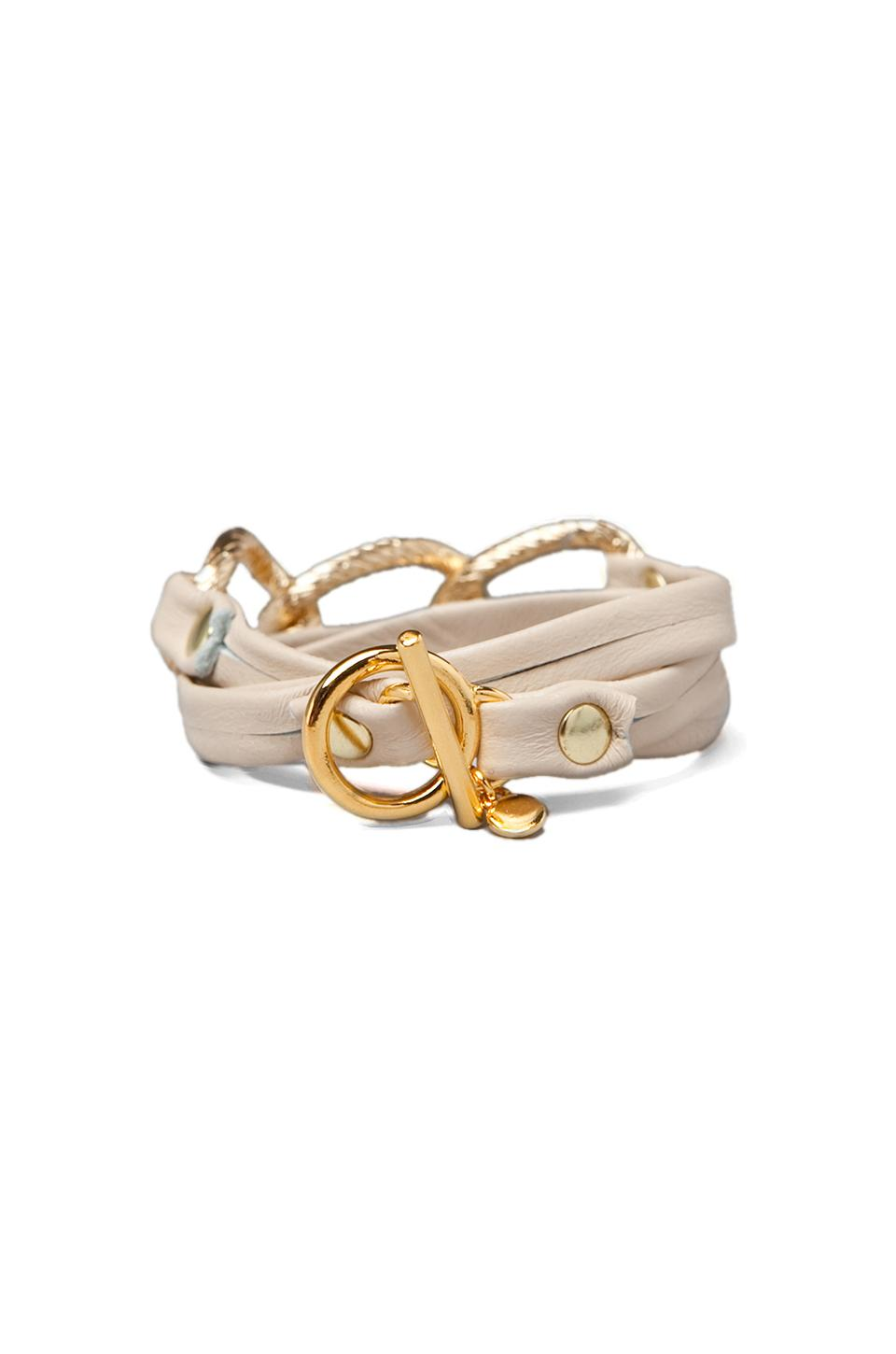 gorjana Parker Leather Wrap Bracelet in Bone
