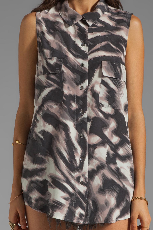 Graham & Spencer Abstract Zebra Print Sleeveless Button Down in Multi