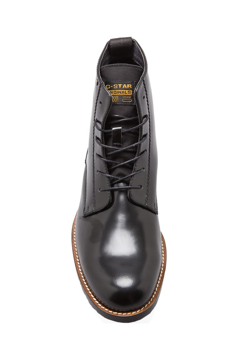 G-Star Manor Dryden Hi Shine Boot in Black Textured Leather