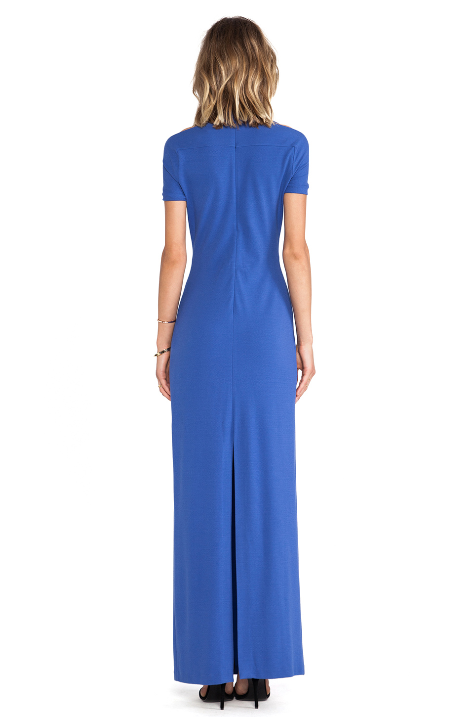 Halston Heritage Short Sleeve Gown With Shoulder Cut in Ultramarine