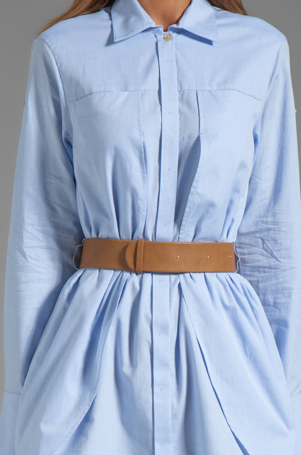 Halston Heritage Belted Shirtdress with Overlay in Chambray
