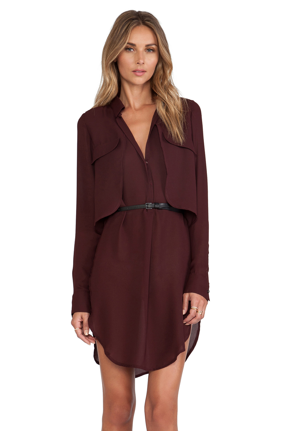 Halston heritage belted shirt dress in wine for Halston heritage shirt dress