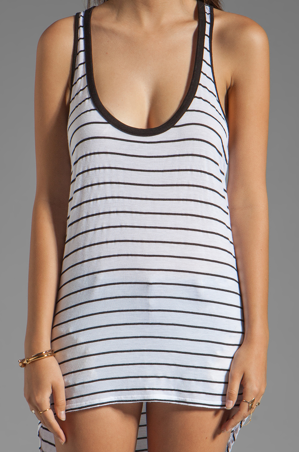 MONROW Stripe Rayon Tank in White