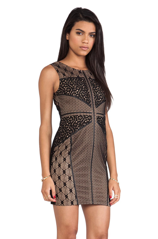 heartLoom Wilson Mixed Lace Dress in Black