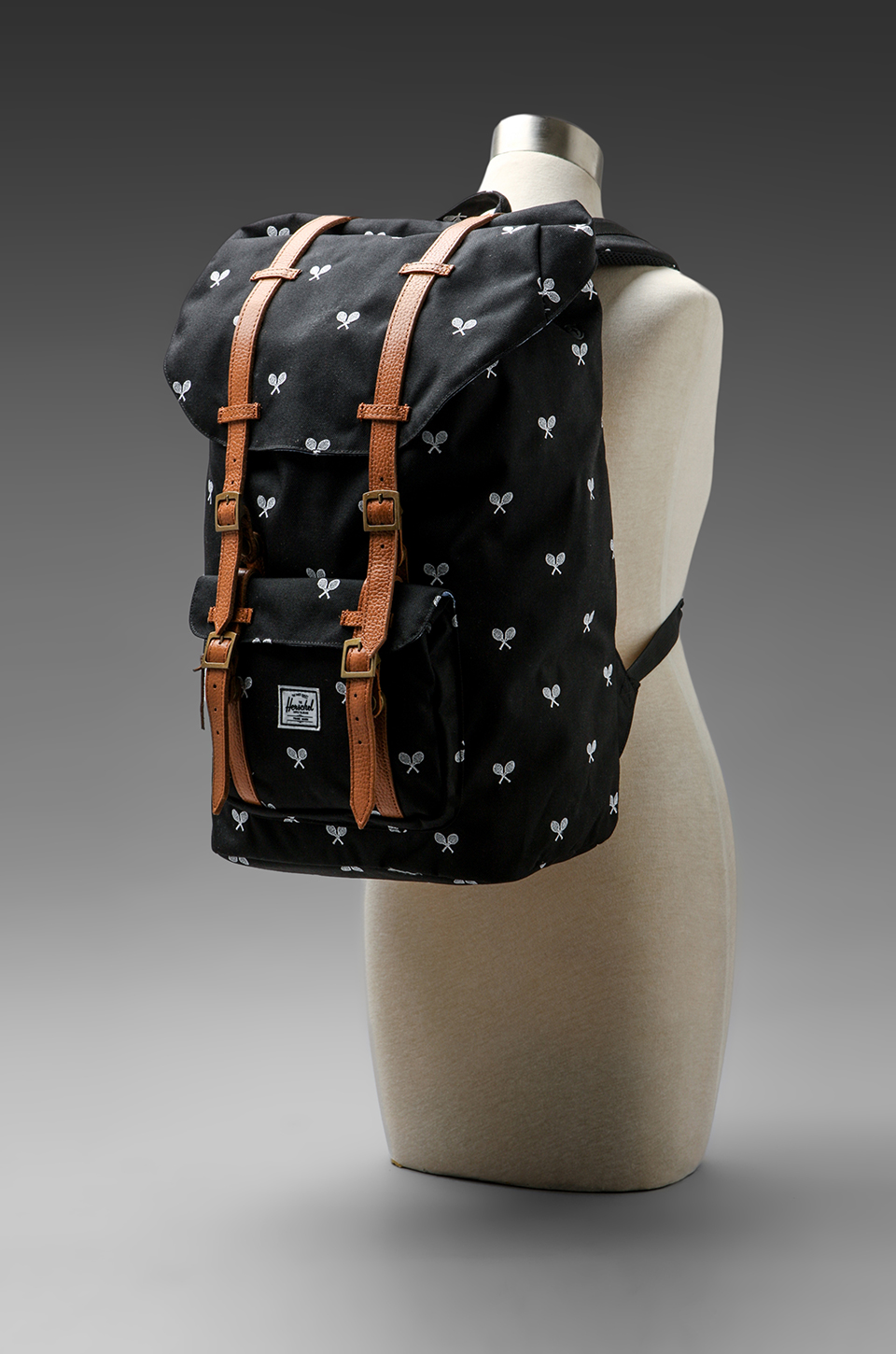 Herschel Supply Co. Invitational Collection Little America Cordura Backpack in Black/White Embroidery